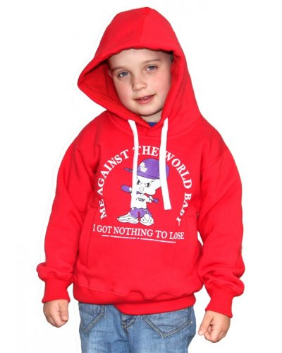 "Bluza Kangurka OUTSIDEWEAR ""Against 4kids"" kolor czerwony"