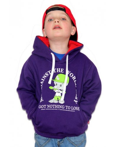 "Bluza Kangurka OUTSIDEWEAR ""Against 4kids"" kolor fiolet"