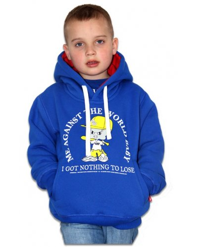 "Bluza Kangurka OUTSIDEWEAR ""Against 4kids"" kolor niebieski"