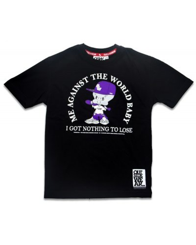 "T-shirt OUTSIDEWEAR 4kids ""Against"" czarny"